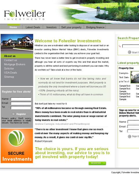 Folweiler Investments web site design